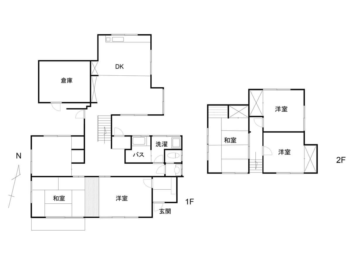 庭先でBBQができる埼玉県飯能市の戸建の間取り図