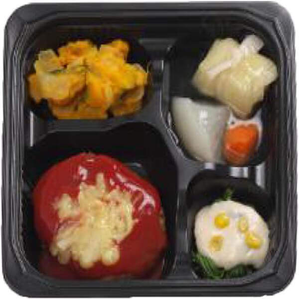 無料の昼食メニュートマトソースのチーズハンバーグの画像