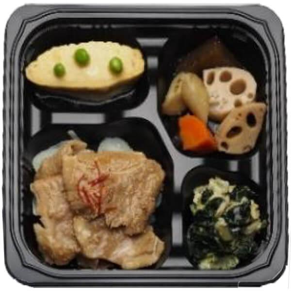 無料の昼食メニュー豚肉の生姜焼きの画像