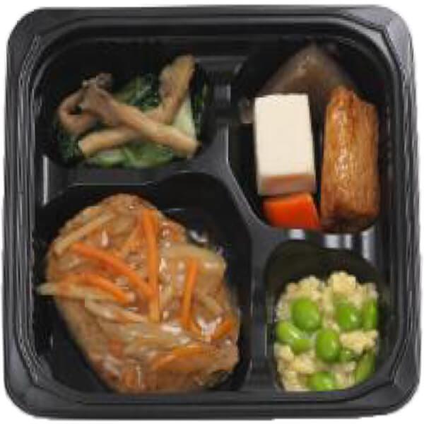 無料の昼食メニューハンバーグ和風あんかけの画像