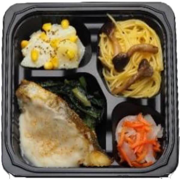 無料の昼食メニュー白身魚のムニエルごまクリーム煮の画像